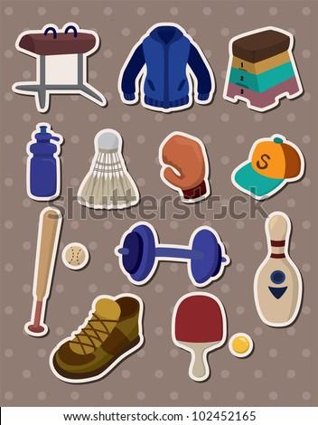 cartoon Sporting Goods stickers - stock vector