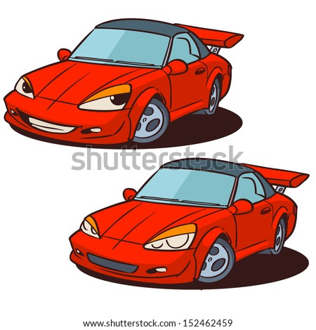 cartoon sports car character isolated on white - stock vector