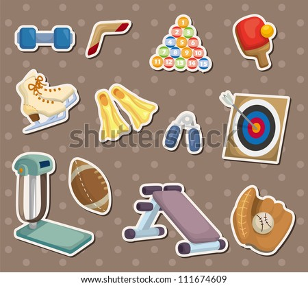 cartoon Sports Equipment stickers - stock vector