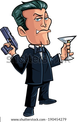 Cartoon spy character with martini. Isolated on white