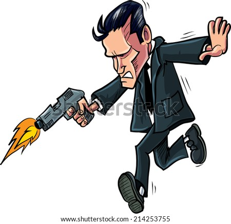 Cartoon spy running with his gun. Isolated - stock vector
