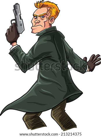 Cartoon spy with a gun looking over his shoulder. Isolated - stock vector