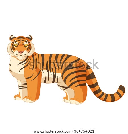 Cartoon standing tiger