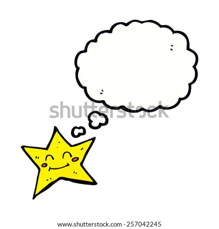 cartoon star character with thought bubble - stock vector