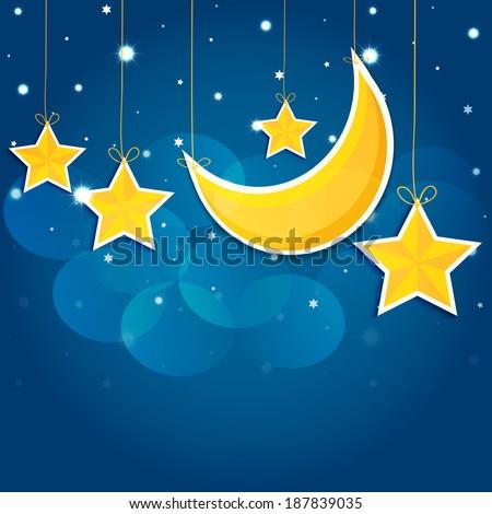 Cartoon stars in the night sky. Vector EPS10. - stock vector
