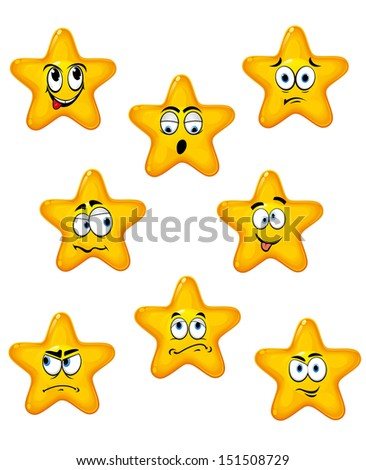 Cartoon stars set with different emotions for design or idea of logo. Jpeg version also available in gallery - stock vector