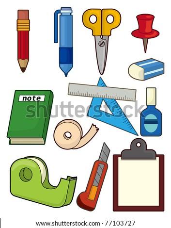 cartoon stationery icon set - stock vector