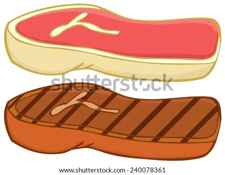 Cartoon Steaks. Vector Collection Set - stock vector