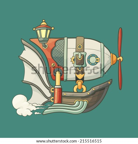 Cartoon steampunk styled flying airship with baloon, lantern and propeller on green plain background - stock vector
