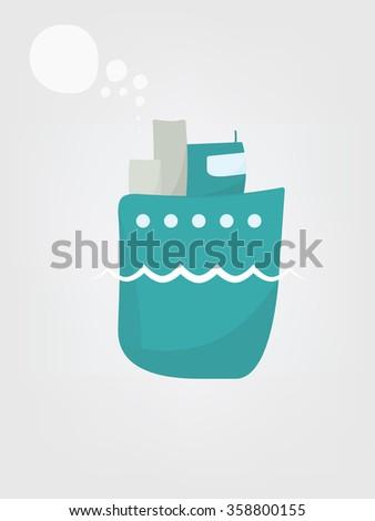 Cartoon steamship - stock vector