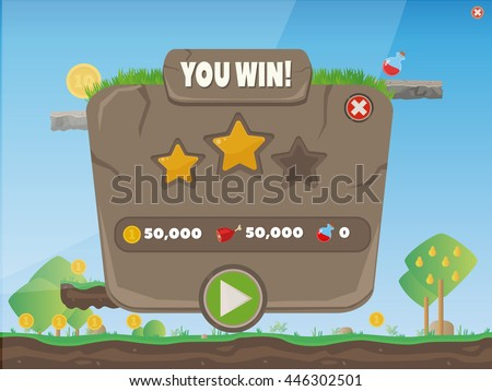 Cartoon Stone Control Panel For Ui Game/ Illustration of a funny cartoon design ui game - stock vector