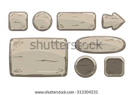 Cartoon stone game assets set, isolated on white, vector - stock vector