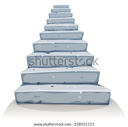 Cartoon Stone Stairs/ Illustration of a cartoon funny rock and stone stairway for castle or old house construction - stock vector