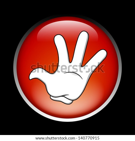 Cartoon stop hand on the red button - stock vector