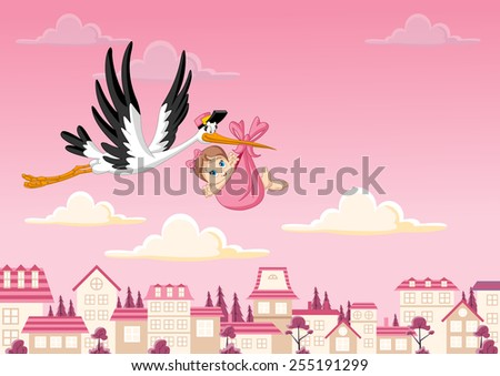 Cartoon stork delivering a newborn baby girl - stock vector