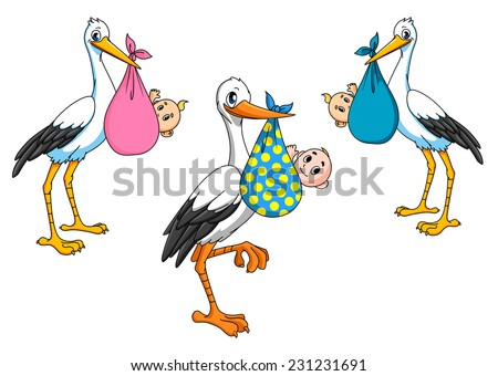 Cartoon storks carrying little newborn babies for delivery boy and girl - stock vector