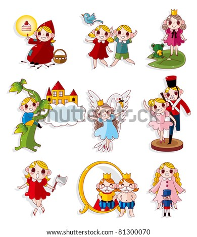 cartoon story people icons set - stock vector