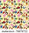 cartoon story people seamless pattern - stock vector