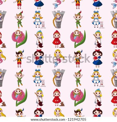 cartoon story people seamless pattern,cartoon vector illustration - stock vector