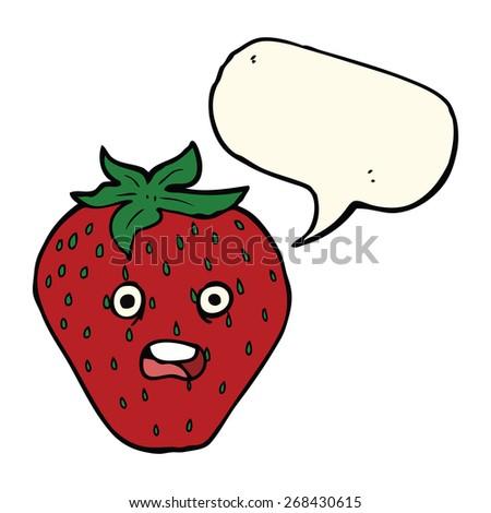cartoon strawberry with speech bubble - stock vector