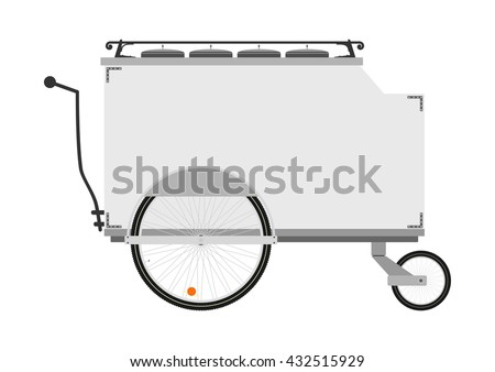 Cartoon street food vendor cart on a white background. Flat vector