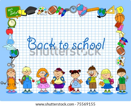 Cartoon students and school subjects, banner frame - stock vector