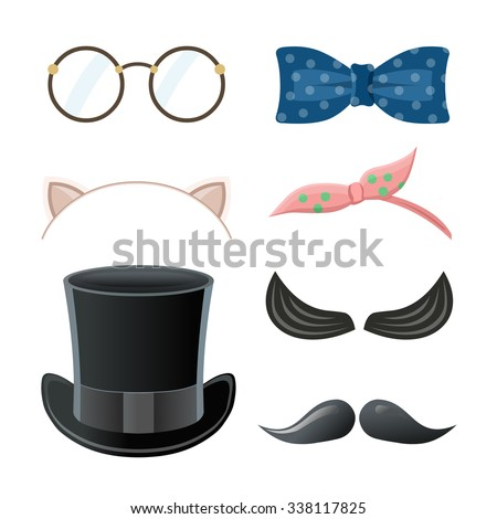Cartoon style accessories (mustache, glasses, hat, bow tie, cat ears). Vector illustration. - stock vector