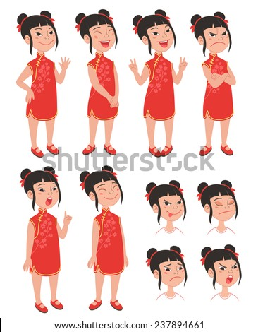 Cartoon style Asian girl in traditional chinese qipao red dress. Set of original character different standing poses and facial expressions. Vector illustrations collection isolated on background - stock vector