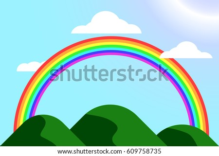 cartoon style background, sky, cloud, rainbow and mountain