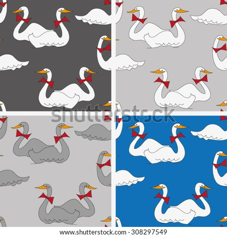 cartoon-style background with geese - stock vector