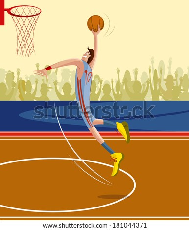 cartoon style basketball player in vector - stock vector