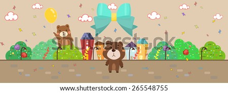 cartoon style bears playing outdoor illustration/ big turquoise color ribbon/ confetti falling in the air/ template for wallpaper or banner - stock vector