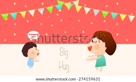 Cartoon style birthday party template. Illustration of cute little boy character want his mother give him a big warm hug. Sweet home family gathering concept. Bunting flags and confetti decoration. - stock vector
