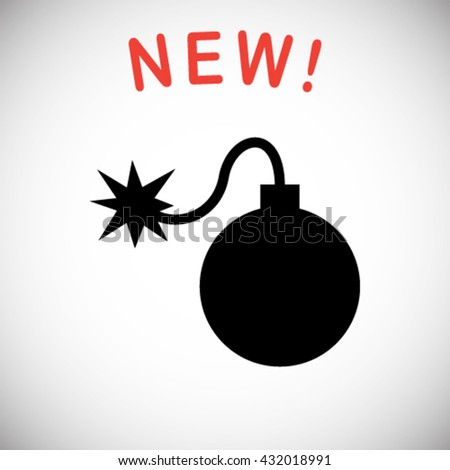 Cartoon style bomb with a burning wick ready to explode. Vector  - stock vector