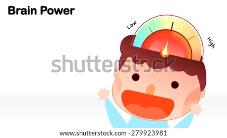 Cartoon style circular infographic brain power energy bar imagination demonstrated diagram colorful sketch chart illustration. Cute boy character vector. Background template for school educational use - stock vector