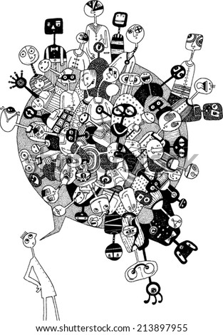 cartoon style, comic, man with a comic bubble with people in it/bubble talk/digital vector - stock vector