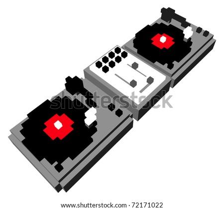Cartoon style double turntable in 3D pixels - stock vector