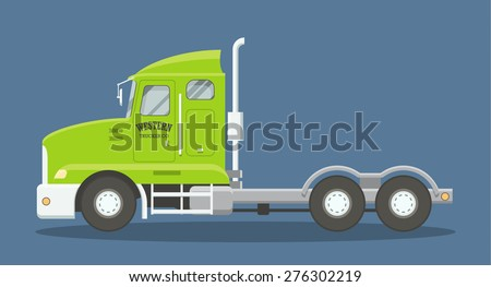 Semi Truck Side View Vector of a Semi Truck Side View