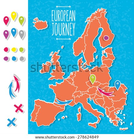 Cartoon style hand drawn journey map of europe with pins vector  illustration - stock vector