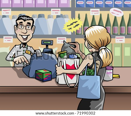 Cartoon-style illustration: a blond woman in a shop, in front of the seller's desk