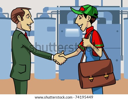 Cartoon-style illustration: a customer and a boiler technician shaking their hands - stock vector
