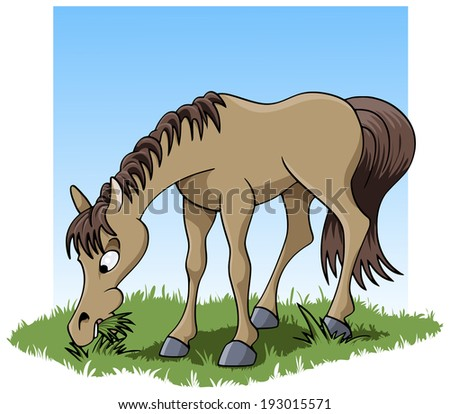 Cartoon-style illustration: a cute young horse eating grass - stock vector