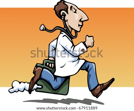 Cartoon-style illustration: a funny running doctor, wearing a white-coat, bringing his working bag. A stethoscope hanging from his ears. Orange background - stock vector