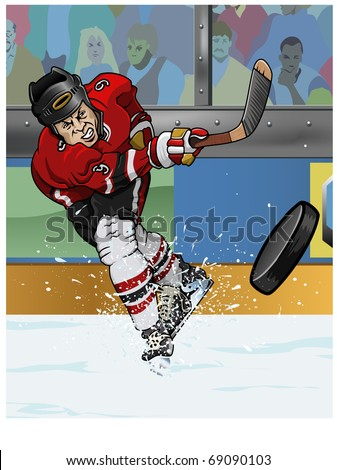 Cartoon-style illustration: a hockey player making a slap-shot - stock vector