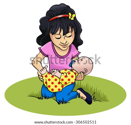 Cartoon style illustration: a little smiling girl is playing with her doll - Isolated on white