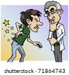 Cartoon-style illustration: a patient with a terrible backache, the doctor by his side - stock photo