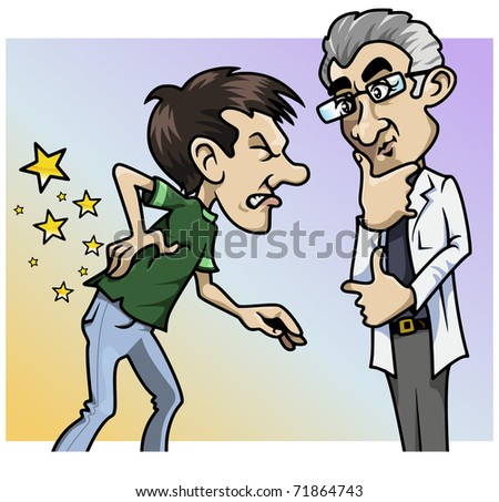 Cartoon-style illustration: a patient with a terrible backache, the doctor by his side - stock vector