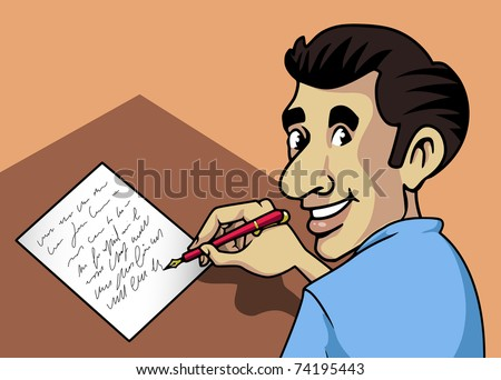 Cartoon-style illustration: a smiling man writing a letter with a fountain-pen and paper - stock vector
