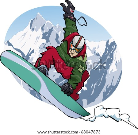Cartoon-style illustration: a snowboarder is jumping. He wears a red and green suit. Snowy mountains on the background.