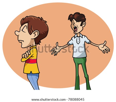 Cartoon-style illustration: a sulky whimsical boy next his irritated father - stock vector